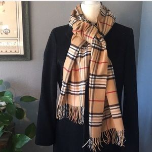 Accessories - 💯 Cashmere Classic Camel Plaid Scarf